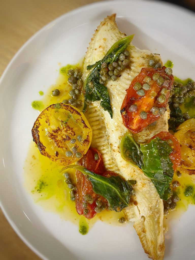 Rocket and Rye Plaice and Roast Tomatoes